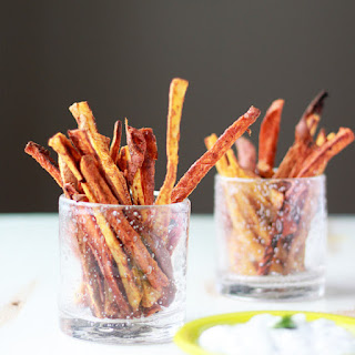 Spicy Baked Sweet Potato Fries with Cool Greek Yogurt Ranch