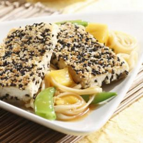 Sesame-Crusted Tofu with Spicy Pineapple Noodles