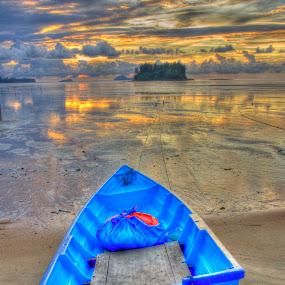 HDR version, Boat by Fazrul Mustaqim - Landscapes Waterscapes ( hdr, blue, sunset, sea, boat, landscape )