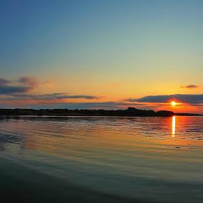 Sunset at my house by Johann Fouche - Landscapes Sunsets & Sunrises ( reflection, sunsets, sunset, dam, horizon )