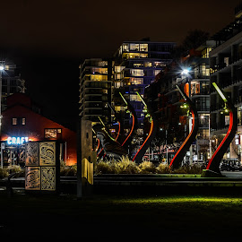 Vancouver's Olympic Village Square by Cory Bohnenkamp - City,  Street & Park  City Parks ( village, olympisc, long exposure, night, vancouver, 2010 olympics, city )