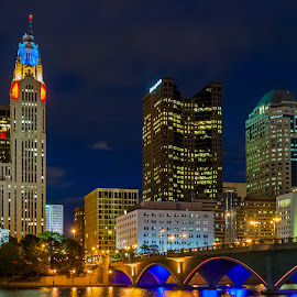 Columbus Ohio  by Carl Albro - City,  Street & Park  Skylines ( reflection, night, bridge, cityscape, river, nightscape )