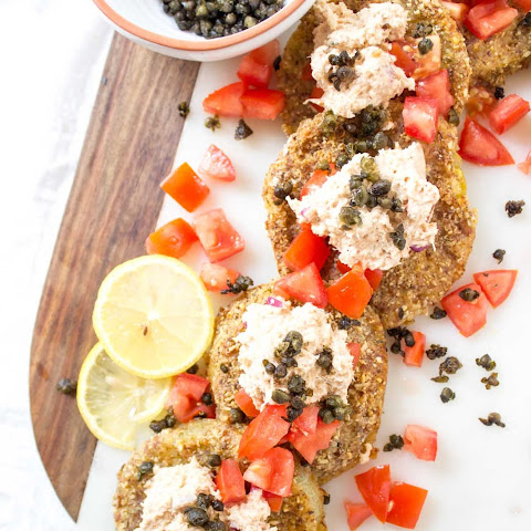 Baked Green Tomatoes with Crab Salad + Fried Capers