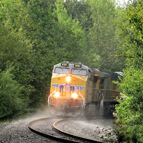 After The Summer Shower by Rick Covert - Transportation Trains ( color, railroad, summer, train, steam )