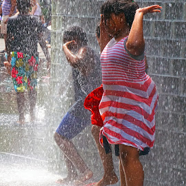 Fountain Fun by Alycia Marshall-Steen - Babies & Children Children Candids ( drops, crown fountain, cooling off, dancing in fountain, chicago, water, fun,  )