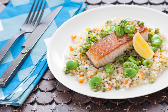 Pan-Seared Salmon over Whole Wheat Israeli Couscous with Fava Bean ...