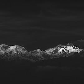 Kanchenjunga by Dipjyoti Bharali - Landscapes Mountains & Hills ( nikon, mountains, kanchenjunga, black and white, sikkim )