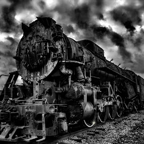 Old Iron by Scott Bryan - Black & White Objects & Still Life ( clouds, sky, monochrome, locomotive, dramatic, tracks, landscape, rain )