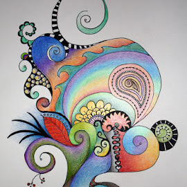 Earth Doodle by Jeri Olsen - Drawing All Drawing ( abstract, nature, colorful, swirl, growth )