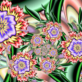 Woodpecker Flowers by Peggi Wolfe - Illustration Abstract & Patterns ( abstract, wolfepaw, gift, unique, bright, illustration, fun, digital, print, decor, pattern, color, unusual, woodpecker, fractal, garden, flower )