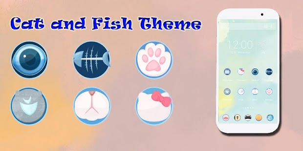 Cat and Fish Launcher Theme - screenshot