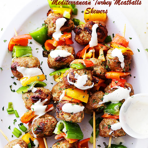 Grilled Mediterranean Turkey Meatballs Skewers