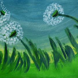 dandalions by Rahul Manoj - Novices Only Flowers & Plants ( grass, blue, green, white, yellow, flower )