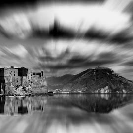 Naples by Renke Bargmann - Landscapes Travel ( reflection, naples, composing, black and white, cloud )