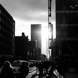 Winter in the City by Darren Eves - City,  Street & Park  Street Scenes ( black and white, low sun, light, manchester, shadows )