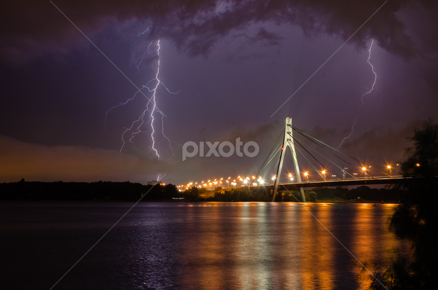 A Thunderstorm by Andrey Dayen - Landscapes Weather ( lightning, ukraine, thunderstorm, pwcfoulweather, kiev, shutter, night, bridge, storm, river,  )