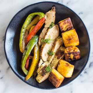 Cilantro Chicken Fajitas with Pan-Fried Plantains