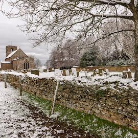Parish Church, Northamptonshire, England by Simon Harding - Landscapes Weather ( church, graves, stone, simon harding, grave, rural, graveyard, england, winter, cold, churchyard, january, d800, parish, northamptonshire, nikon, english, wall )
