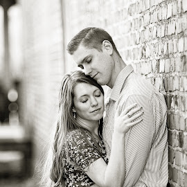 by Jennifer Olmstead - People Couples ( love, portraiture, black and white, couple, people, engagement )