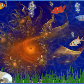 Predator in the deep blue sea by Nancy Bowen - Illustration Animals ( one-eyed, shells, waterscape, fish, octopus )