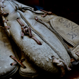 Caught a Few by Barbara Brock - Artistic Objects Other Objects ( baseball glove, worn glove, vintage baseball equipment, vintage baseball glove, baseball mitt, leather glove )
