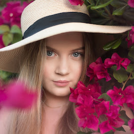 chili by Inna Fangel - People Portraits of Women ( spain, chili, flowers, pink, girl,  )