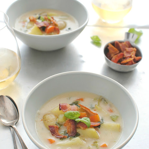 Creamy Potato Soup with Bacon and Basil