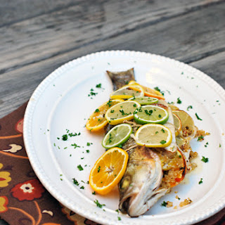 Triple Citrus Striped Bass Stuffed with Quinoa