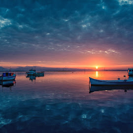 Sunrise in the lagoon by Giancarlo Angius - Transportation Boats ( sunrise, sunset, water, landscape )