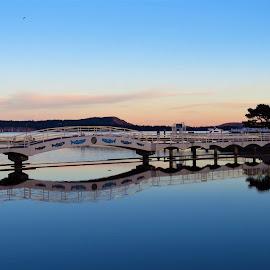 Lagoon at dusk by Carol Leynard - Buildings & Architecture Bridges & Suspended Structures ( footbridge, lagoon, twilight, reflections, waterfront )