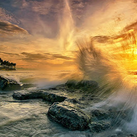 Morning Wave by Agoes Antara - Landscapes Waterscapes ( water, bali, waterscape, wave, cloud, rock, beach, sunrise, landscape )