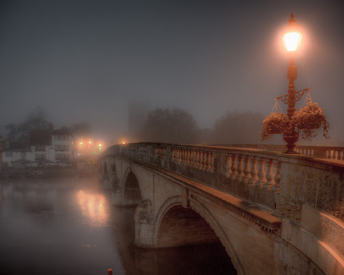 Bridge at Night by John Walton - City,  Street & Park  Night ( fog, heritagefocus, henley, bridge, mist )