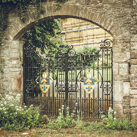 The Gate by Jennifer  Loper  - Buildings & Architecture Other Exteriors ( sidewalk, flowers, coat of arms, shrubs, iron, gate, arch )