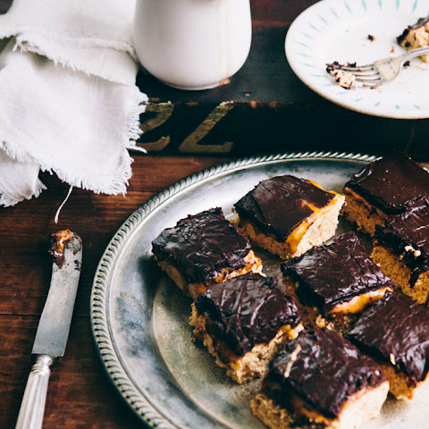 Peanut Butter Caramel Chocolate Rice Krispies Bars