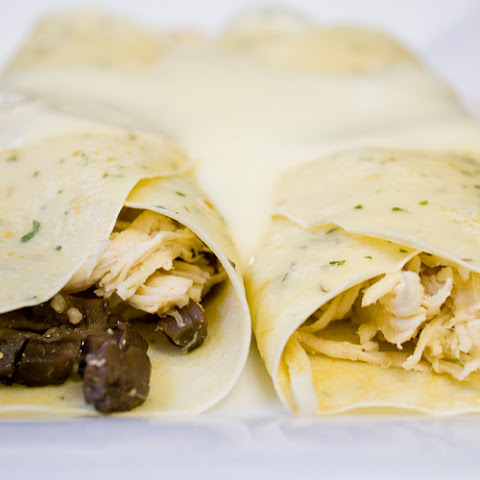 Chicken & Mushroom-Stuffed Crepes with Mornay Sauce