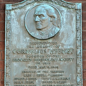 DEDICATED TO THE MEMORY OF CORNELIUS HEENEY FOUNDER OF THE BROOKLYN BENEVOLENT SOCIETY IN 1845 DIED MAY 6, 1848, ERECTED BY THE TRUSTEES MARK HAYES, PRESIDENT EDWARD J. BREENPAUL W. FRESEARTHUR J. ...