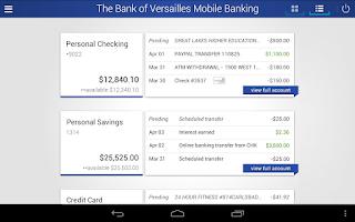 Screenshot of The Bank of Versailles Mobile