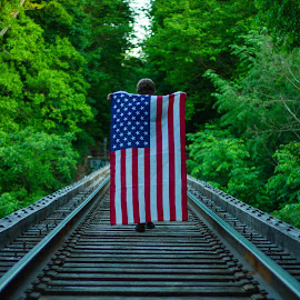 by Aires Spaethe - Public Holidays July 4th ( train tracks, railroad tracks, flag, railroad, american, tracks, aerican flag )
