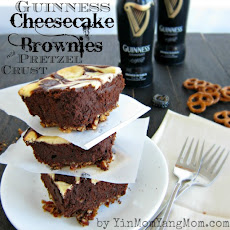 Guinness Cheesecake Brownies with Pretzel Crust
