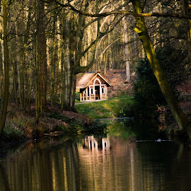 Shelter in the woods by Ronald van der Linden - Buildings & Architecture Public & Historical ( water, shelter, tree, trees, woods )