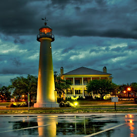 Rainy Lighthouse by Jim Howton - Buildings & Architecture Public & Historical ( biloxi, lighthouse, cloudy, morning, rain, mississippi )