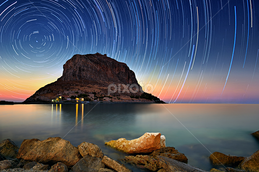 Monemvasia by Dimitrios Lamprou - Travel Locations Landmarks ( exposure, d800, sea, monemvasia, long, rocks, startrails )