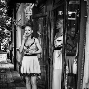 A Walk In Your Park by Bogdan Rusu - Black & White Street & Candid ( reflection, woman, dress, moody, smoke )