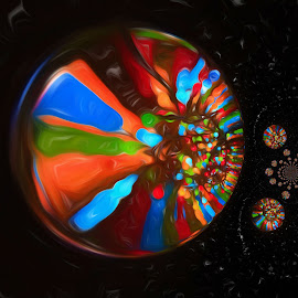 Christmas Bowl by Carole Pallier  - Abstract Light Painting ( abstract, lights, bowl, kaleidoscope, art, steel, colours )