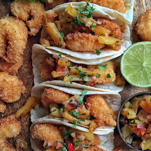 Coconut Shrimp Tacos with Pineapple Salsa