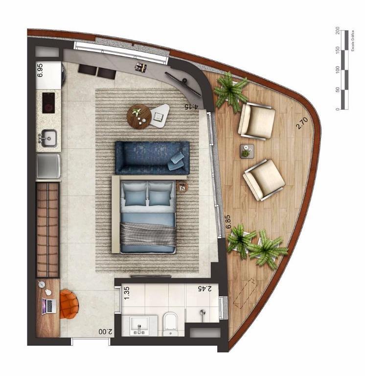 Apto 48,50 m² Layout 2