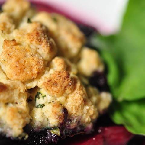 Blueberry Peach Cobbler With Basil Biscuits