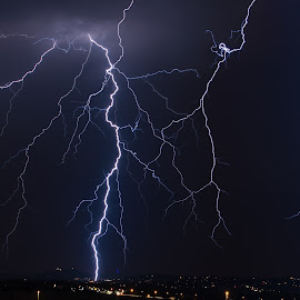Dwarfed by Lightning by Craig Powell - Landscapes Weather ( lightning strike, lightning, nature, thunderstorm, pretoria, south africa, electric storm, storm )