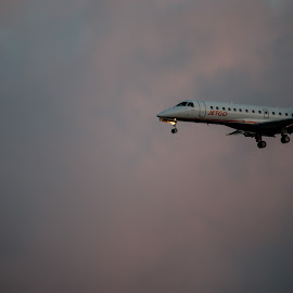 Coming in to Land by Deborah Bisley - Novices Only Objects & Still Life ( clouds, moon, sky, landing, plane, sunset, airoplane )
