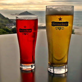 His beer, her beer by Ciprian Apetrei - Food & Drink Alcohol & Drinks ( beer, sunset, alcohol, brittany, ocean view,  )